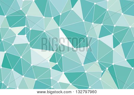 Low Poly. Low poly Background. Background triangulation. Turquoise-mint color. Abstract geometric background polygons. Molecule and communication background. Background triangulation dots low poly