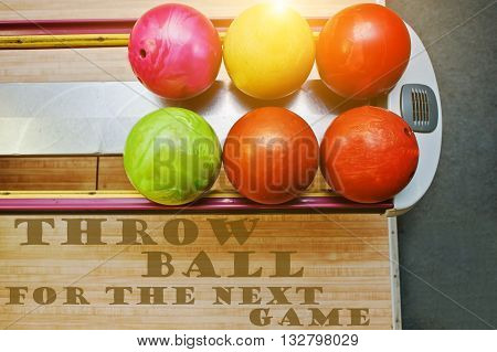 The Word Throw Ball For The Next Game Background Bowling Balls