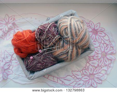 Threads for needlework, knitting designed for hands on the spokes