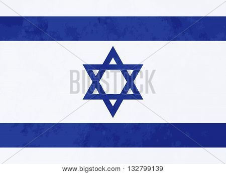 True proportions Israel flag with grunge texture