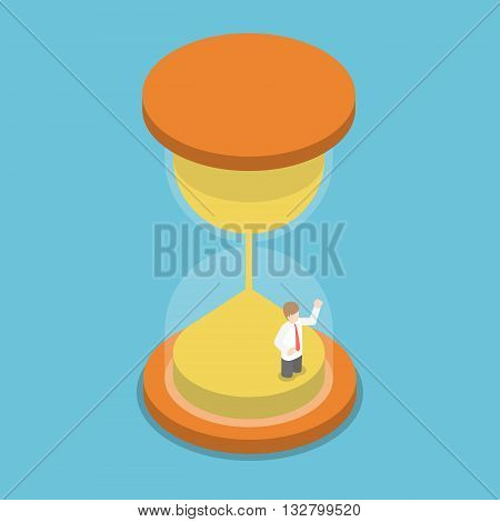 Isometric Businessman Trapped Inside Hourglass