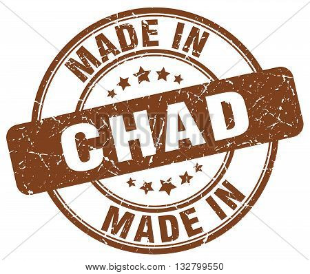 made in Chad brown round vintage stamp.Chad stamp.Chad seal.Chad tag.Chad.Chad sign.Chad.Chad label.stamp.made.in.made in.