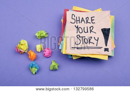 Share your story note on paper with purple background poster