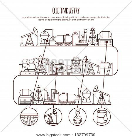 Vector thin line oil industry infographic. Oil extraction, processing, transportation. For your design