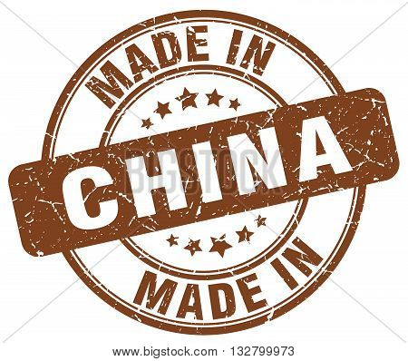 made in China brown round vintage stamp.China stamp.China seal.China tag.China.China sign.China.China label.stamp.made.in.made in.