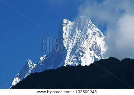 Machapuchare or Fishtail peak. it is a mountain in the Annapurna Himal of north central Nepal