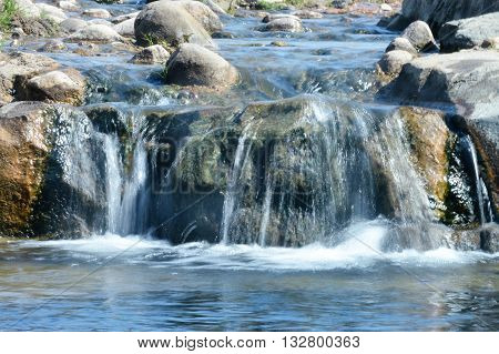 Flowing water in a wilderness landscape during spring