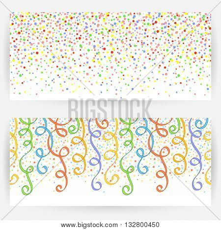 Two festive backgrounds with seamless pattern from circles and ribbons.Horizontally elongated rectangular backgrounds