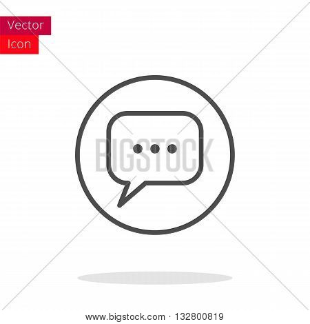Message Thin Line Icon. Message Icon in circle. Vector Message Icon. Round Message Icon. Message Icon On white background. Message Icon Illustration.