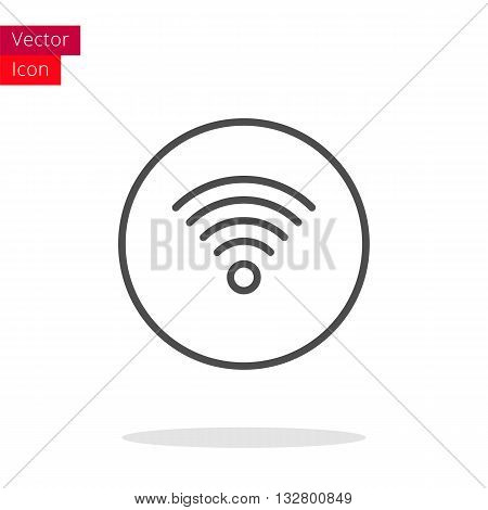 Wi-Fi Thin Line Icon. Wi-Fi Icon in circle. Vector Wi-Fi Icon. Round Wi-Fi Icon. Wi-Fi Icon On white background. Wi-Fi Icon Illustration.