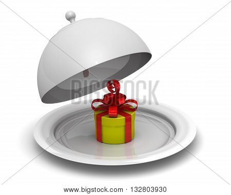 Present on the serving tray. Yellow gift box on a serving tray. Isolated. 3D Illustration