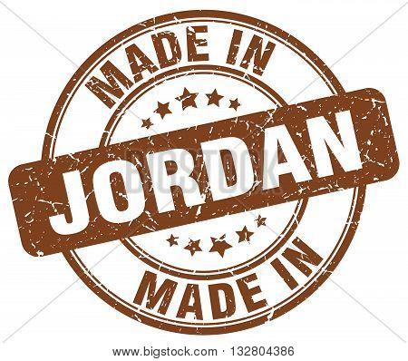 made in Jordan brown round vintage stamp.Jordan stamp.Jordan seal.Jordan tag.Jordan.Jordan sign.Jordan.Jordan label.stamp.made.in.made in.