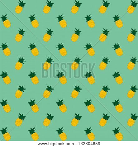 Pineapple seamless pattern. Vintage pineapple seamless for your business. Cartoon pineapple on a green background. Simple vector background. Cute summer pattern. Seamless textile illustration in vintage style.