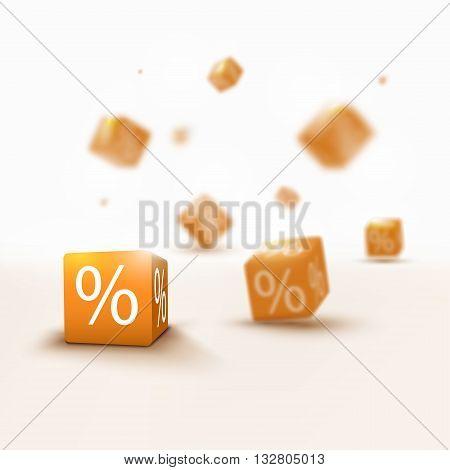 3D discount boxes dice for store market and shop. Sale promotional concept. 3d discount sale design. Discount Sale 3d