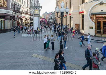 Moscow, Russia - May 18, 2016. Old Arbat Street - a pedestrian tourist street in the city center