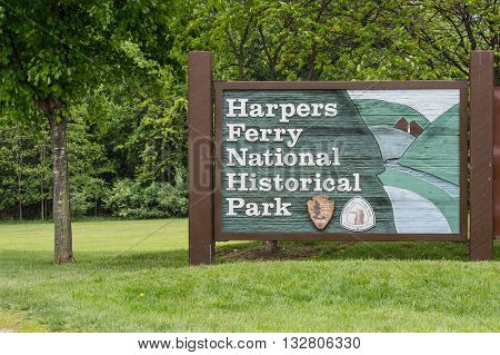 Harpers Ferry United States: May 18th 2016: Harpers Ferry National Historic Park Sign in West Virginia