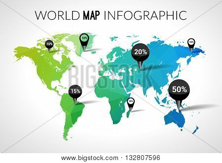Vector 3d world map with points and percantage. Triangle green blue travel globe world map infographic concept.