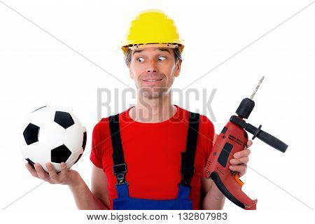 Handcrafter With Helmet And Drilling Machine And Soccer Ball