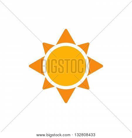 Sun flat icon. Yellow sun. Vector sun