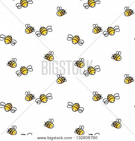 bee seamless pattern, honey and bee illustration.