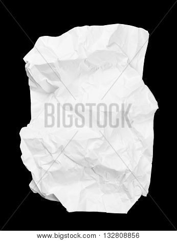 white creased paper isolated on black background