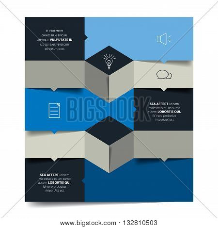 Square template infographic banner diagram. Flat vector tab.