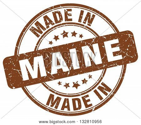 made in Maine brown round vintage stamp.Maine stamp.Maine seal.Maine tag.Maine.Maine sign.Maine.Maine label.stamp.made.in.made in.