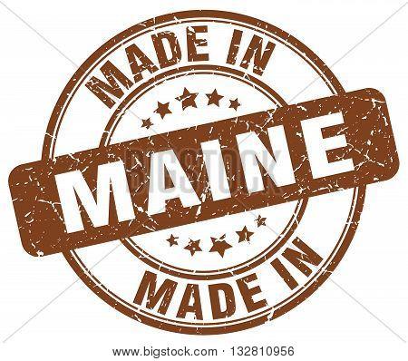 made in Maine brown round vintage stamp.Maine stamp.Maine seal.Maine tag.Maine.Maine sign.Maine.Maine label.stamp.made.in.made in.