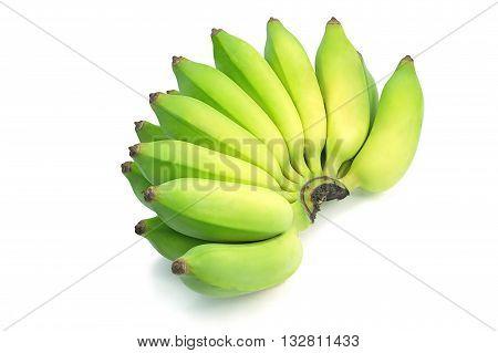 Pisang Awak banana Kluai Nam Wa Cultivate banana on isolate white background. green asian banana isolated background. poster