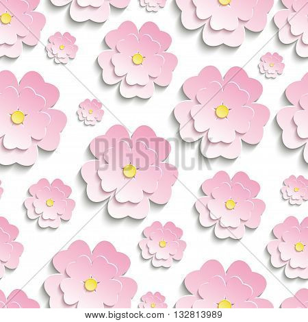 Beautiful modern nature background seamless pattern with pink stylized 3d flower sakura - japanese cherry tree cutting paper. Floral stylish trendy wallpaper. Vector illustration