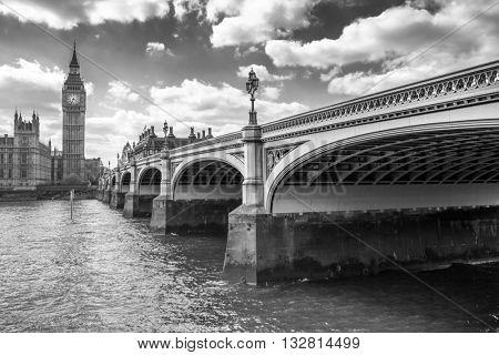 Big Ben and Westminster Bridge in London, UK