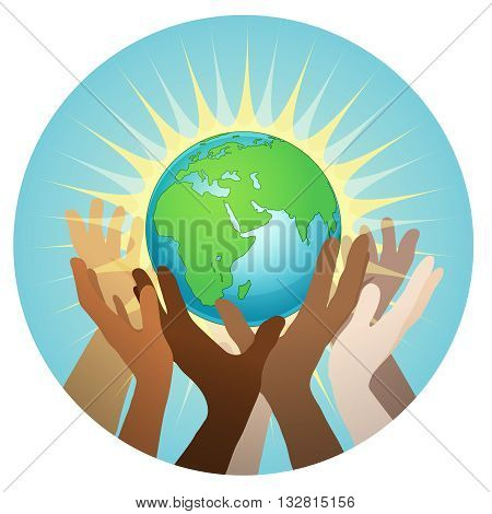 hands with earth, people of the world holding the globe, vector sticker, poster, etc