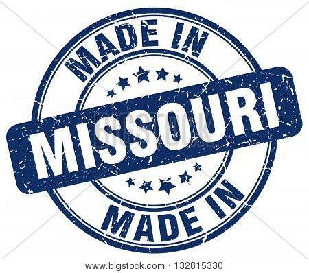made in Missouri blue round vintage stamp.Missouri stamp.Missouri seal.Missouri tag.Missouri.Missouri sign.Missouri.Missouri label.stamp.made.in.made in.