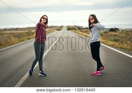 beautiful lovely girls were photographed on the road