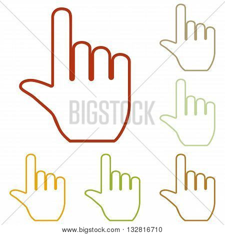Hand sign illustration. Colorful autumn set of icons.