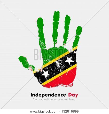 Hand print, which bears the Flag of Saint Kitts and Nevis. Independence Day. Grunge style. Grungy hand print with the flag. Hand print and five fingers. Used as an icon, card, greeting, printed materials.