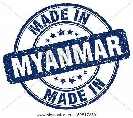 made in Myanmar blue round vintage stamp.Myanmar stamp.Myanmar seal.Myanmar tag.Myanmar.Myanmar sign.Myanmar.Myanmar label.stamp.made.in.made in.