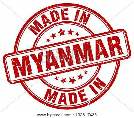 made in Myanmar red round vintage stamp.Myanmar stamp.Myanmar seal.Myanmar tag.Myanmar.Myanmar sign.Myanmar.Myanmar label.stamp.made.in.made in.