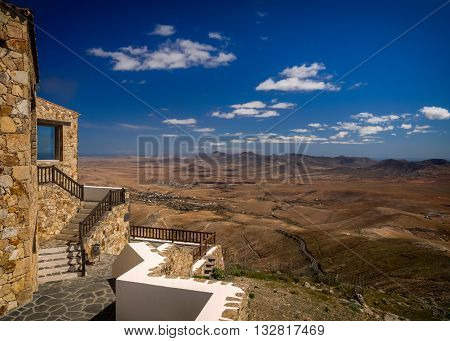 Viewing platform of the Morro Velosa viewpoint, Fuerteventura,  Canary Islands, Spain