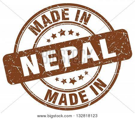 made in Nepal brown round vintage stamp.Nepal stamp.Nepal seal.Nepal tag.Nepal.Nepal sign.Nepal.Nepal label.stamp.made.in.made in.