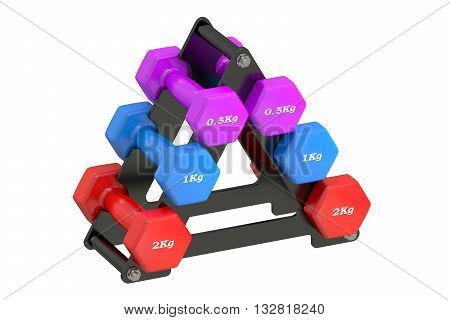Dumbbell Set with Stand 3D rendering isolated on white background