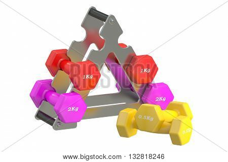 Dumbbells stack 3D rendering isolated on white background