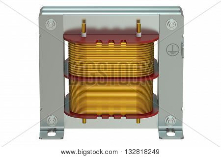 Electric transformer closeup 3D rendering isolated on white background