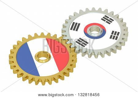 France and South Korea flags on a gears 3D rendering isolated on white background