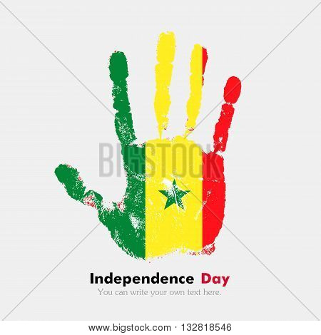 Hand print, which bears the Flag of Senegal. Independence Day. Grunge style. Grungy hand print with the flag. Hand print and five fingers. Used as an icon, card, greeting, printed materials.