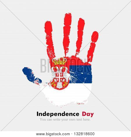 Hand print, which bears the Flag of Serbia. Independence Day. Grunge style. Grungy hand print with the flag. Hand print and five fingers. Used as an icon, card, greeting, printed materials.