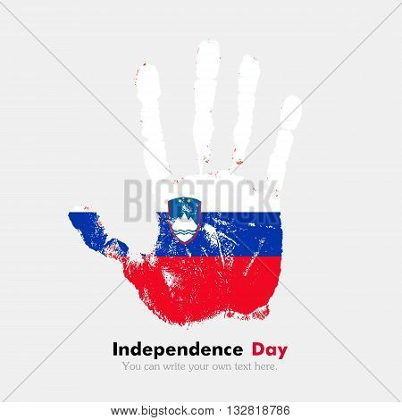 Hand print, which bears the Flag of Slovenia. Independence Day. Grunge style. Grungy hand print with the flag. Hand print and five fingers. Used as an icon, card, greeting, printed materials.