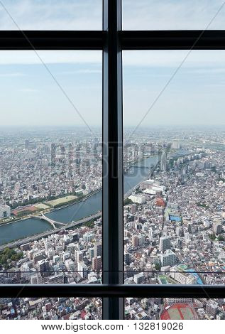 Vertical Japan Tokyo city top view from skytree tower