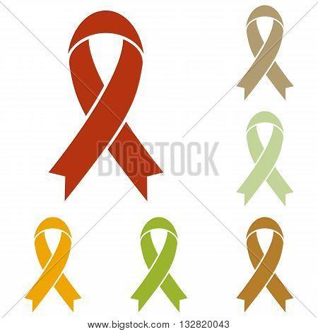 Black awareness ribbon sign. Colorful autumn set of icons.