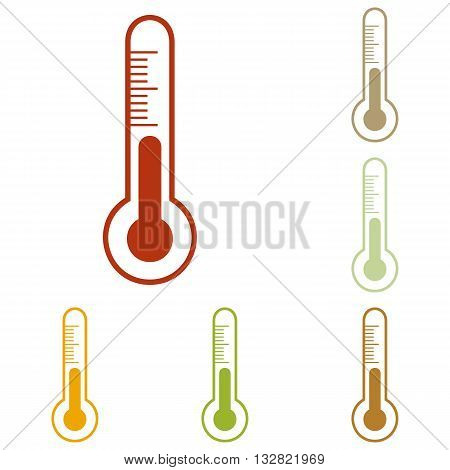 Meteo diagnostic technology thermometer sign. Colorful autumn set of icons.